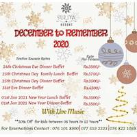 Celebrate Christmas and New Year at Suriya Resort with exclusive buffet for this Festive Season