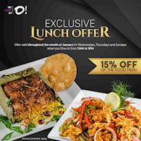 Lunch Offer - Get 15% Off on the food menu at The floor By O