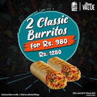 2 Classic Burritos for just Rs. 980 at Taco Bell