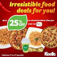 Enjoy 25% off when you order a range of selected food from Keells via PickMe Food