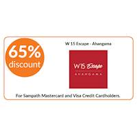 65% discount on double room bookings on full board stays at W 15 Escape, Ahangama for all Sampath Mastercard and Visa Credit Cardholders.