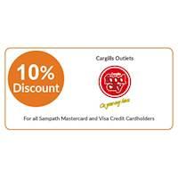 10% off on total bill at all Cargills Food City Outlets for all Sampath Mastercard & Visa Credit Cardholders