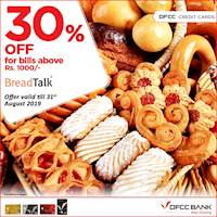Enjoy 30% Off for bills above Rs. 1,000 when you pay with your DFCC Credit Card at BreadTalk!