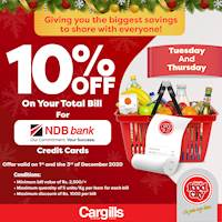 Get 10% OFF on your total bill when you pay with your NDB Bank Credit Cards at Cargills Food City