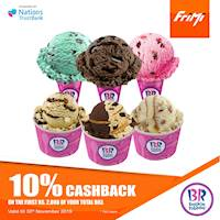 Enjoy a 10% Cashback on the first Rs. 2,000 of your total bill at Baskin-Robbins via FriMi valid till the 30th November 2019.