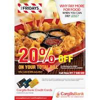 20% savings for Cargills Bank Mastercard Credit and Debit Card holders at TGI Fridays