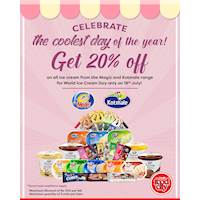 20% off on all ice cream from the entire Magic and Kotmale range, available only this Sunday at Cargills Food City