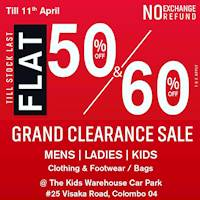 Grand Clearance Sale Flat 50% & 60% Off at the kids warehouse Car park