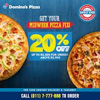 Enjoy 20% OFF up to Rs.200 on orders above Rs.900 at Domino's Pizza