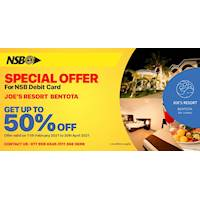 Get up to 50% off for NSB debit card at JOE's Resort Bentota