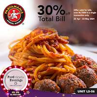 Enjoy 30% OFF your total bill worth Rs. 1,500 or more when you head over to PastaMania Sri Lanka at One Galle Face