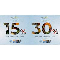 Get 30% discount for your HNB Credit Cards and 15% for your Debit Cards at Indian Summer