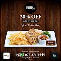 Enjoy 20% off on Spicy Chicken wrap at Darly Road Pub & Restaurant