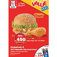 Zinger Burger with 1PC Chicken