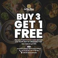Buy 3 items from menu and get your fourth item for absolutely FREE La Rose Blanc