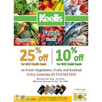 25 % off for BOC credit cards, 10 % off for BOC debits cards on fresh vegetables, fruits and sea food on Every Saturday at Keells