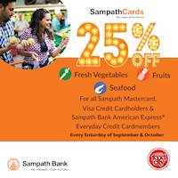 25% Off on Fresh Vegetables, Fruits and Seafood with Sampath Bank Cards On Every Saturdays