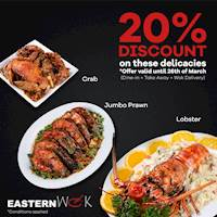20% discount for selected dishes at Eastern Wok