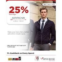 Enjoy 25% savings at Arrow with DFCC Credit Cards!