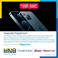 Get Up to LKR 45000 discount on Pre Order the all new iPhone 12Mini, 12, 12Pro & 12 Pro Max For HNB Credit Cards at Abans