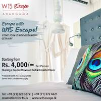 Escape with W15 Escape Starting from Rs 4,000 per person on BB