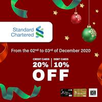 Enjoy up to 20% off on Standard Chartered credit and debit card at Double XL