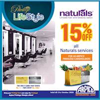 Enjoy 15% Off at Naturals Unisex Hair and Beauty Salon for Arpico Privilege Cards