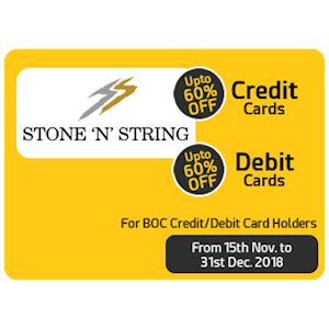 "Upto 60% Off at Stone 'N"" String for Boc Cardholders"