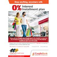 Shop anywhere, anything with 0% Installment plan with Cargills Bank Cards