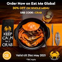 Enjoy 30% off when you order your Ministry of Crab favourites via EatMe Global