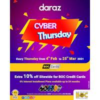 EXTRA 10% OFF sitewide at daraz.lk for BOC Credit Cards