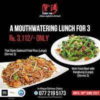 Thai style seafood fried rice and Wok-fried beef with kangkung for just 3,112/= at Loon Tao