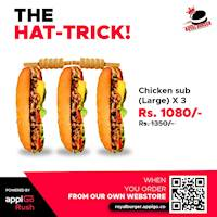 3 X Large Chicken Subs for Rs 1080 at Royal Burger