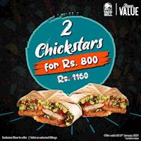 Get 2 Chickstars for just Rs. 800 from Taco Bell