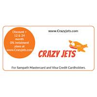 Enjoy discounts on your ticket price, equivalent to your travel distance with 12 & 24-month 0% instalment plans at www.Crazyjets.com for all Sampath Mastercard and Visa Credit Cardholders.