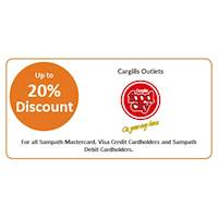 Enjoy up to 20% Discount at Cargills Food City for Sampath Bank Cards