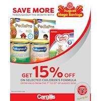 Get 15% off on selected Children's Formula at Cargills FoodCity!
