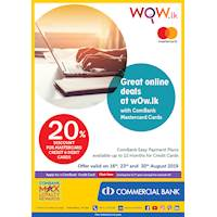 20% Discount for Commercial Bank Mastercard Credit and Debit Cards at WoW.lk