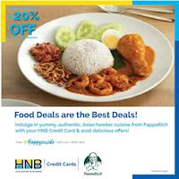 20% off on the total bill for food and beverages at PappaRich for HNB Credit Card!