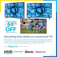 Shop at Abans with up to 50% off on selected LG UHD & OLED TVs with free gifts and 0% interest installment plans for up to 48 months using your HNB Credit Card!