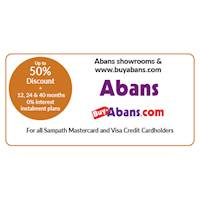 Up to 50% discount on selected products at all Abans Showrooms & www.buyabans.com for all Sampath Mastercard and Visa Credit