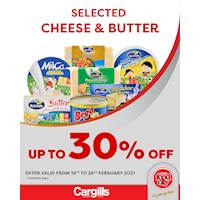 Get up to 30% off on selected Cheese & Butter at Cargills FoodCity!