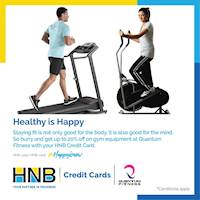 Get Up to 20% off when you buy fitness equipment from Quantum Fintness using your HNB Credit Card