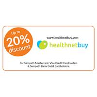 20% discount at www.Healthnetbuy.com for all Sampath Mastercard and Visa Credit Cardholders.