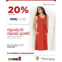 Enjoy 20% savings at Cool Planet with DFCC Credit Cards!