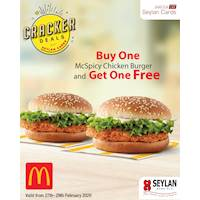 Buy 1 Get 1 Free on McSpicy Chicken Burgers AT McDonald's with Seylan Bank Credit Cards