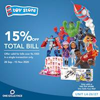 15% Off on Total Bill at The Toy Store One Galle Face Mall