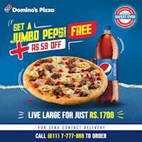 Enjoy a Large Pizza with a FREE Jumbo Pepsi and Rs.59 OFF for just Rs.1700 at Domino's Pizza