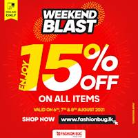 Get Flat 15% off on all items site wide when you shop at www.fashionbug.lk