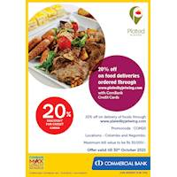 20% off on food deliveries ordered through www.platedbyjetwing.com with ComBank Credit Cards